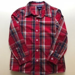 Cherokee Red Plaid Button Down Long Sleeve